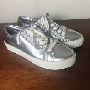 Tory Burch Sport Ruffle Sneaker Silver